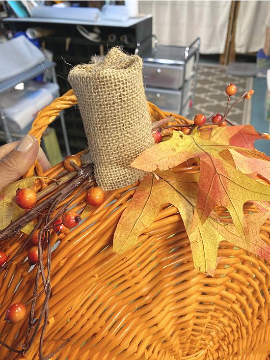 burlap stem and fall foliage