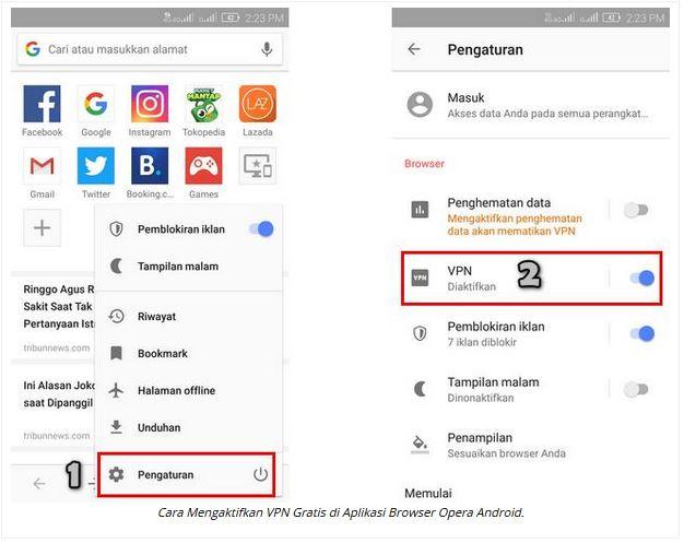 cara membuka situs terblokir dengan Opera Mini