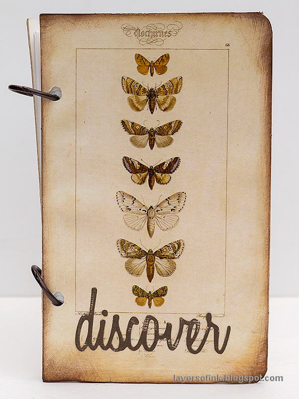 Layers of ink - Quick DIY Notebooks Tutorial by Anna-Karin Evaldsson. Vintage butterfly notebook.