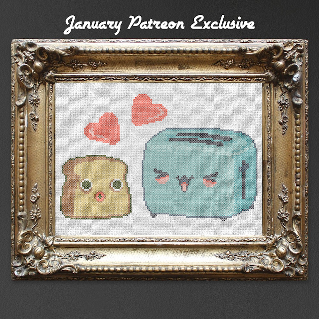 kawaii cross stitch pattern of a toaster and a little slice of bread
