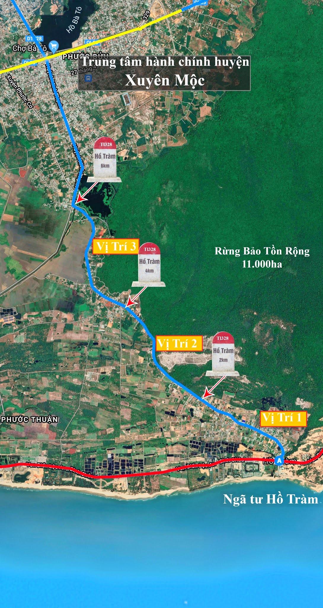 bản đồ trục đường tỉnh lộ 328 và vị trí đất đang được bán tại Hồ Tràm