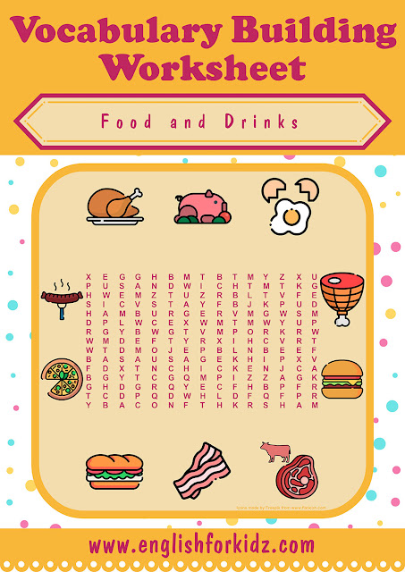 Food and drinks word search puzzle -- printable ESL worksheets