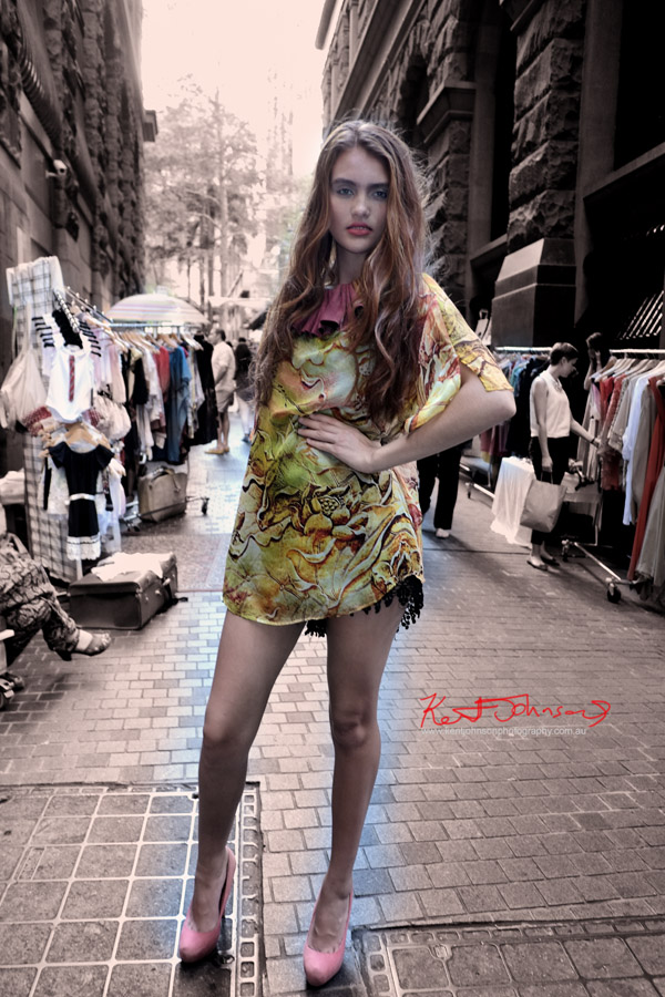 Model wearing 9 lives Re creation neck piece, Silk Diva leopard print top, St frock playsuit; cross section markets Angel Place Sydney