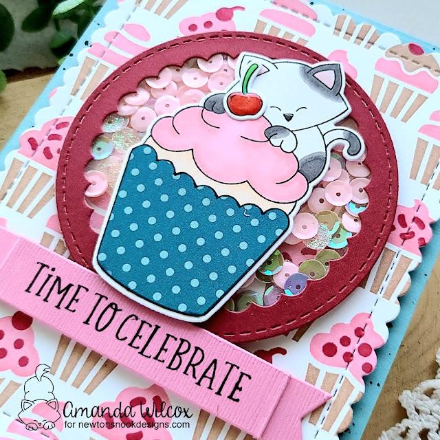 Kitty Cupcake Shaker Card by Amanda Wilcox | Newton's Cupcake Stamp Set, Cupcake Stencil Set, Circle Frames Die Set, Banner Trio Die Set and Birthday Roundabout Stamp Set by Newton's Nook Designs #newtonsnook #handmade