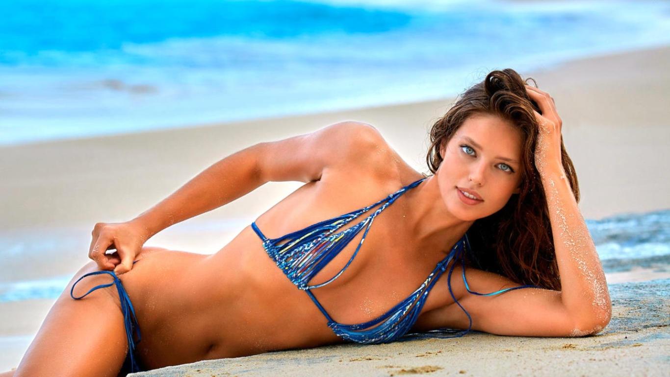 Emily Didonato Blue Bikini Hot Wallpaper