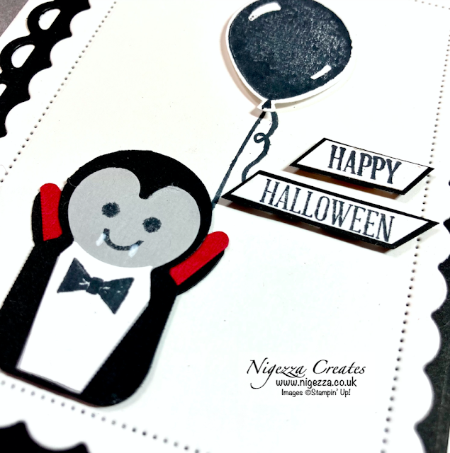 Cute Punch Art Dracula Halloween Card Using The Penguin Punch