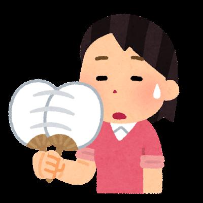 うちわで扇ぐ人のイラスト(女性)