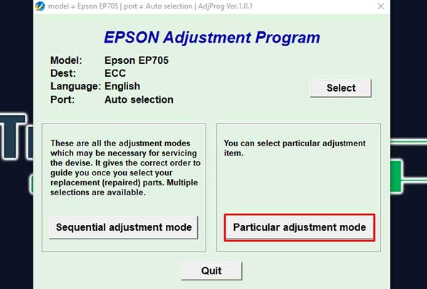 Epson EP805AW Adjustment Program