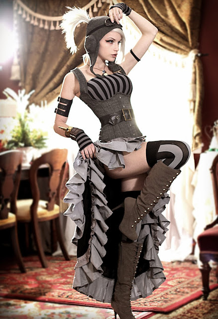 steampunk fashion (womens clothing, goggles, boots, skirts, stockings)