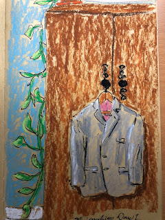 gray men's sport coat. oil pastel drawing by artist David Borden