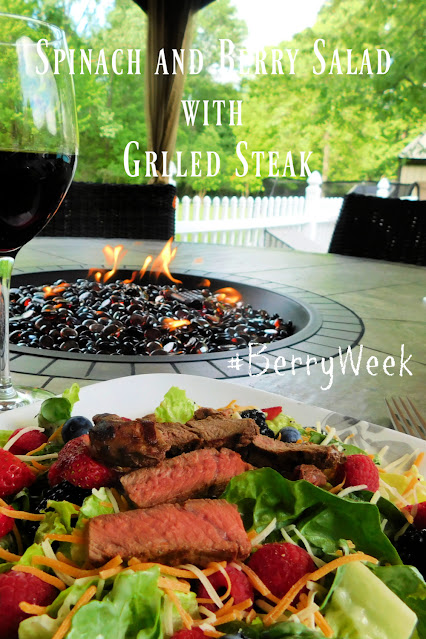 Spinach and Berry Salad with Grilled Steak pin
