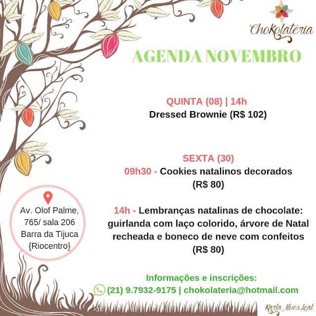 Agenda de Aulas de Novembro - Chokolateria Karla Alves Leal