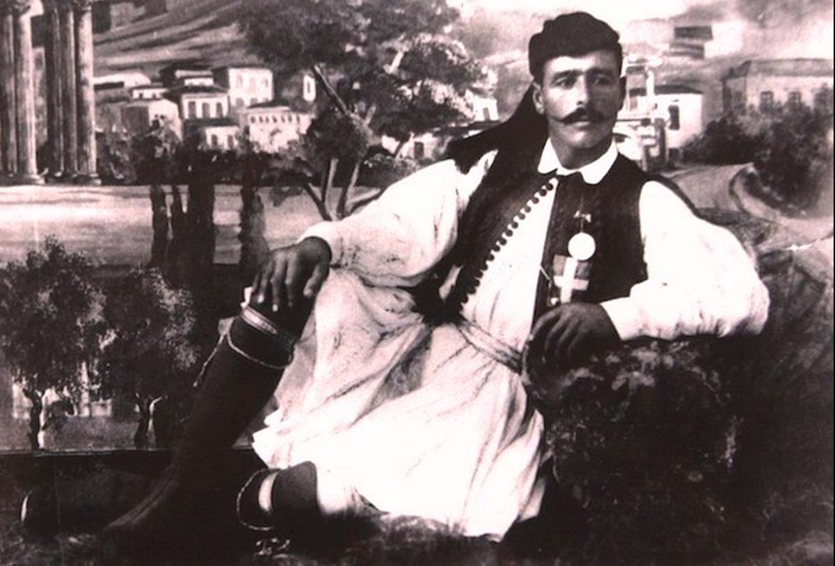 Louis was born in the town of Marousi, which is now a suburb to the north of Athens. In this picture he is wearing the Arvanites fustanella.