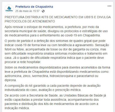 Página da Prefeitura de Chapadinha dá a entender que a população está recebendo todas as medicações necessárias