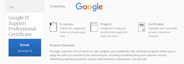 Google IT Support Professionals Enrollment by Coursera