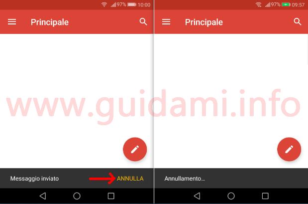 Gmail per Android il pulsante Annulla per annullare l'invio delle email