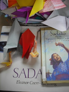 paper cranes with Sadako book