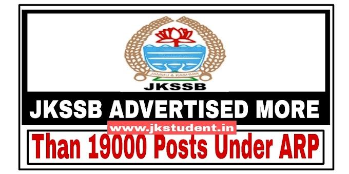 JKSSB | Advertised More Than 19000 Posts Under ARP