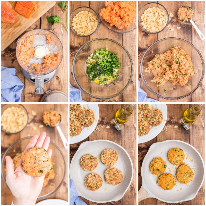 Six photos of the process making keto salmon cakes (salmon patties) for Keto Salmon Eggs Benedict