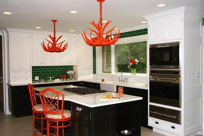 A Painted Antler Chandelier