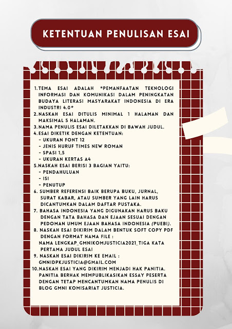"""Lomba Essai tema """"Pemanfaatan Teknologi Informasi dan Komunikasi dalam Peningkatan Budaya Literasi Masyarakat Indonesia di Era Industri 4.0"""""""