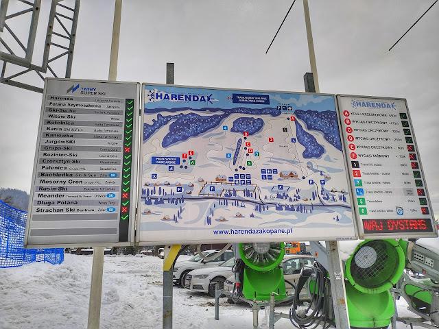 stoki narciarskie w Zakopanym, Harenda, tablica informacyjna