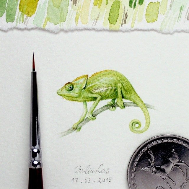 11-Chameleon-Julia-Las-Tiny-Animal-Watercolor-Paintings-and-Other-Miniatures-www-designstack-co