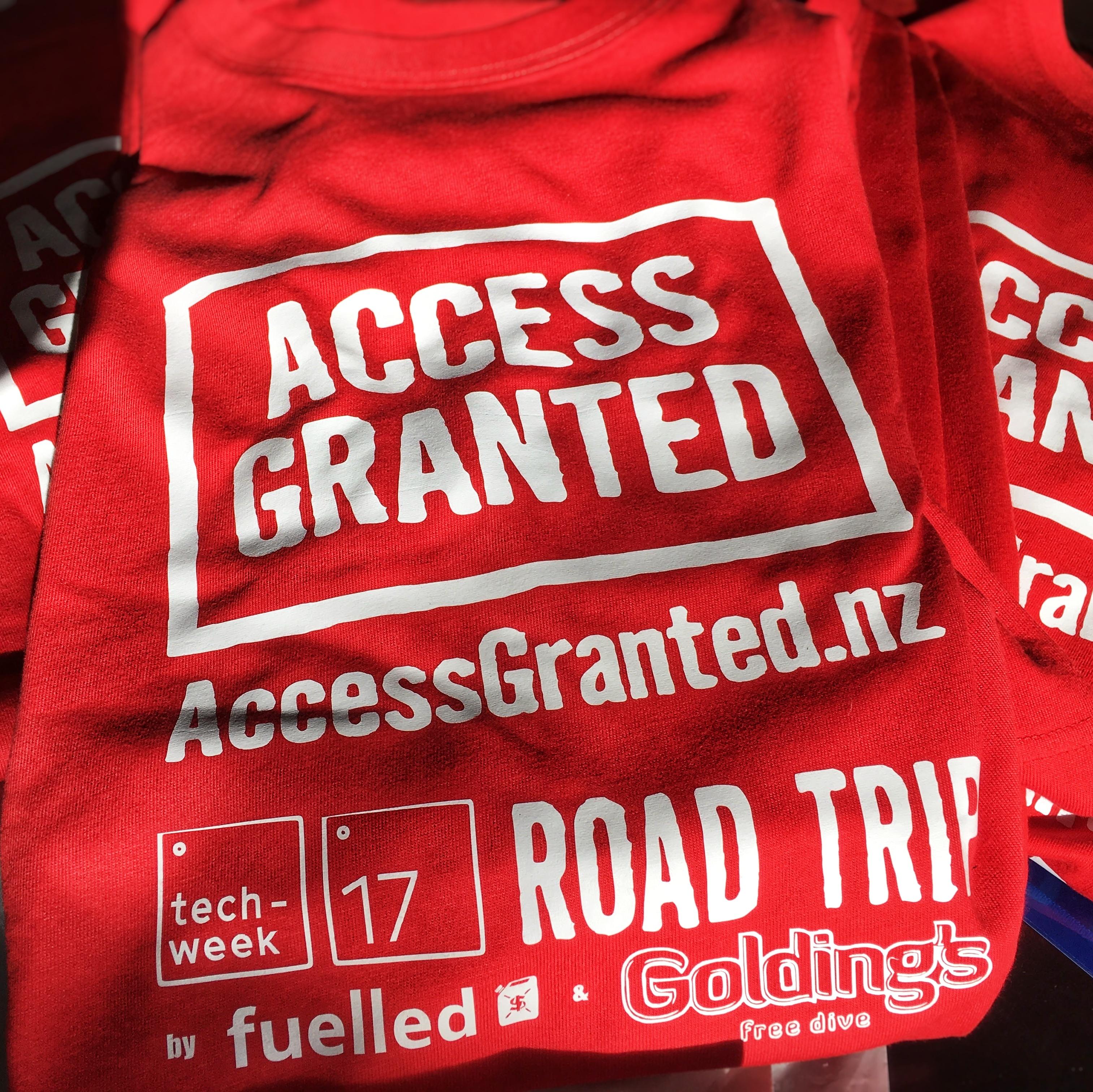 Access Granted NZ 2017 roadtrip t-shirt