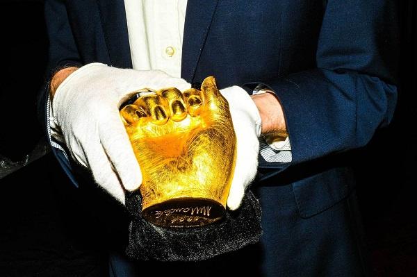 gold-cast hand