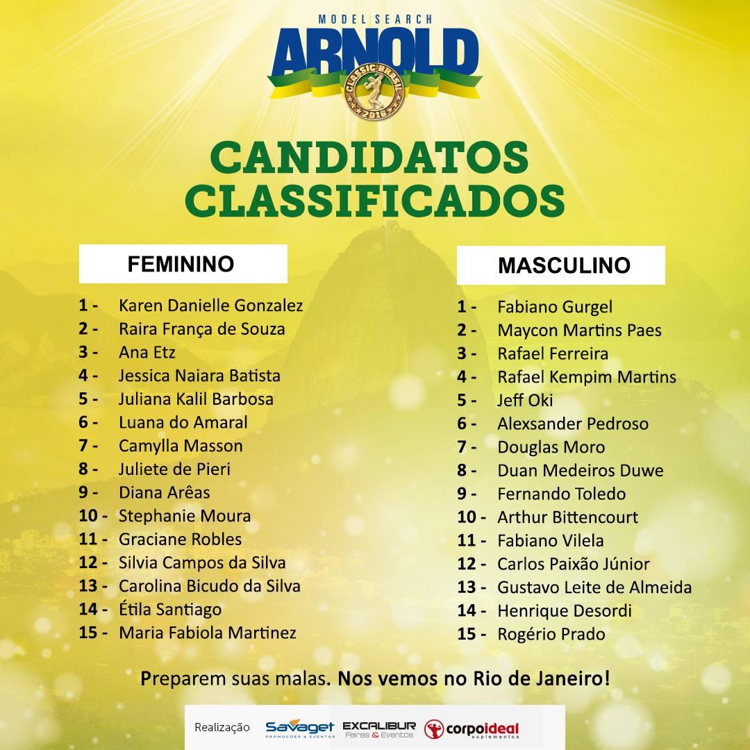 Lista oficial de candidatos classificados para o Arnold Model Search. Foto: Divulgação