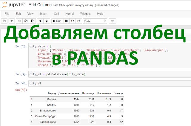 Как добавить столбец в Pandas?