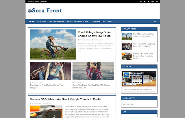 Sora Front Responsive Magazine News Sites Personal Blog Viral Trend Blog Blogger Template Theme