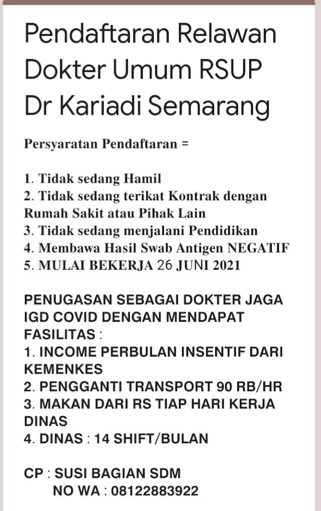 RELAWAN Dokter Umum* di RSUP dr. Kariadi Semarang Jawa Tengah