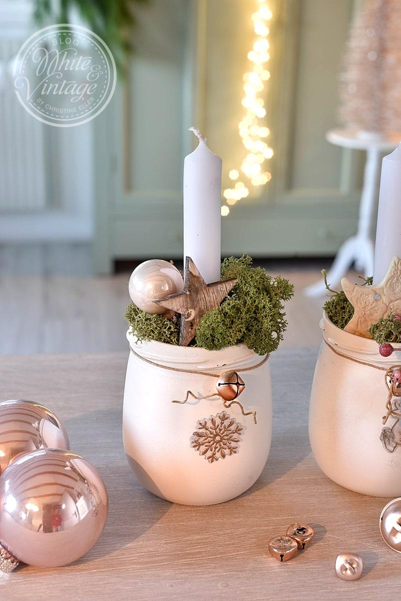 Altglas weihnachtlich dekorieren.