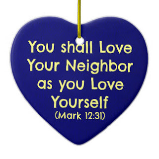 You shall love your neighbor as yourself ceramic ornament