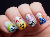 Chalkboard Nails: Fuzzy Monster Buddies tutorial