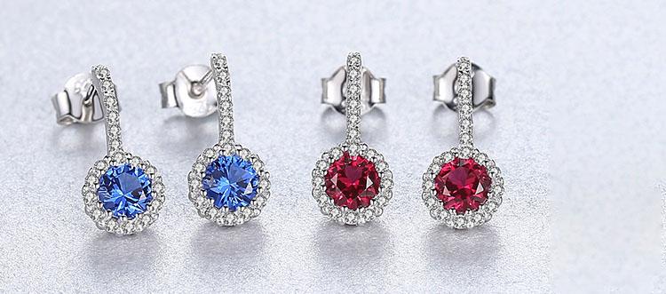 優雅花朵人造海藍寶石 925純銀耳環