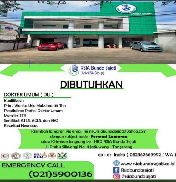 Loker Dokter RSIA Bunda Sejati (AN-NISA Group) Tangerang