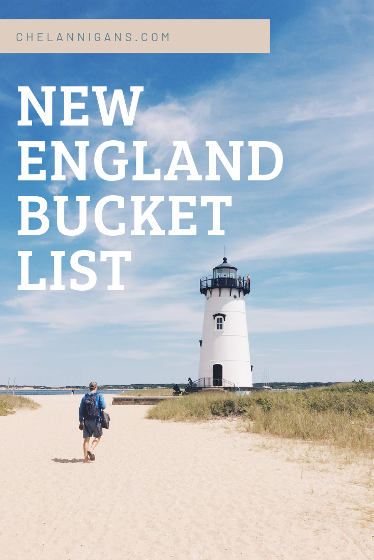 Lighthouse on a beach with text overlay - New England Bucket List