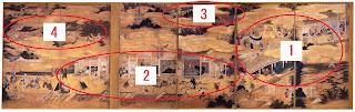 画面右:1⃣五条大橋附近、画面中央下:2⃣寺町通附近、画面中央上:3⃣清水寺、画面左:4⃣八坂神社