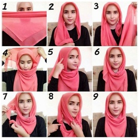 Tutorial Hijab Paris Segiempat