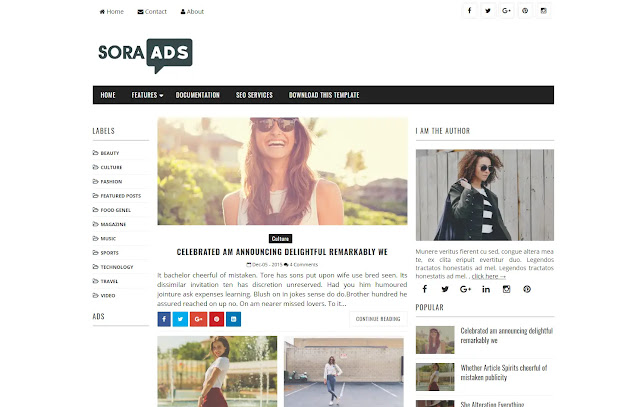 Sora Ads Responsive Magazine News Sites Trending Viral Blog Blogger Template Theme