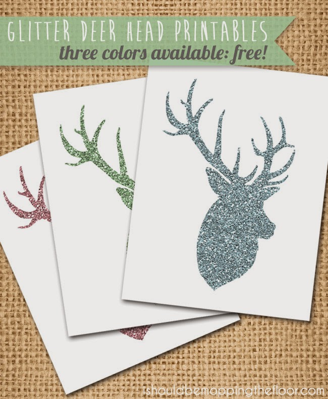 Glitter Deer Head Printables   i should be mopping the floor