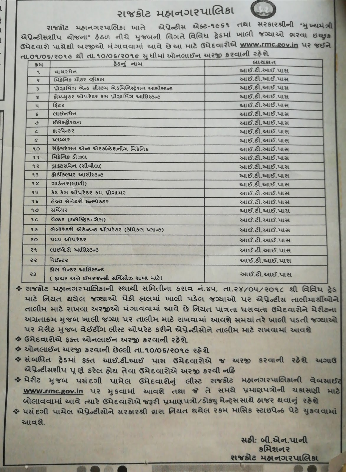Rajkot Municipal Apprentice Recruitment 2019