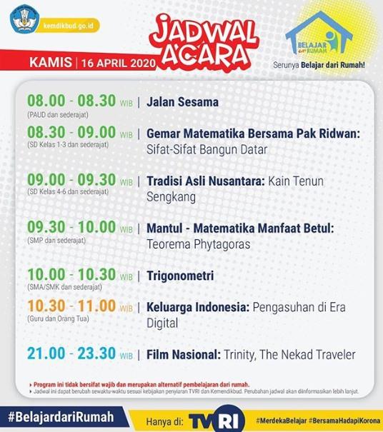 Update Jadwal Belajar dari Rumah TVRI, Kamis 16 April 2020