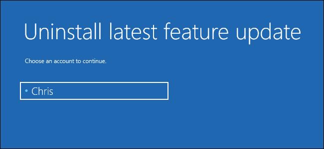 إلغاء تثبيت آخر تحديث للميزات الكبيرة على Windows 10