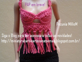 PAP top cropped de crochê para Barbie