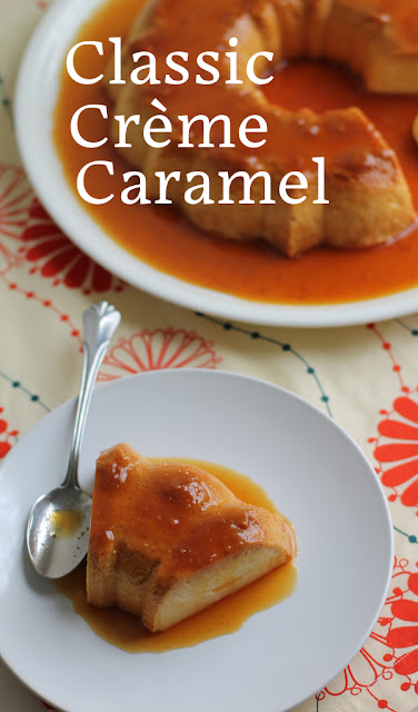 Food Lust People Love: Rich, flavorful caramel? Check. Soft, spoonable custard? Check. Sticky sweet baked sides? Check. This classic crème caramel ticks all the boxes and, since it's baked in a Bundt pan, it's pretty too. Perfect for a party. This recipe is adapted from one shared a couple of years ago by my fellow Bundt Baker, Felice from All That's Left Are the Crumbs. It couldn't be easier to make since the custard ingredients are blitzed together in a blender. The caramelized sugar is a little bit tricky but very manageable. I promise you the effort is worth it.