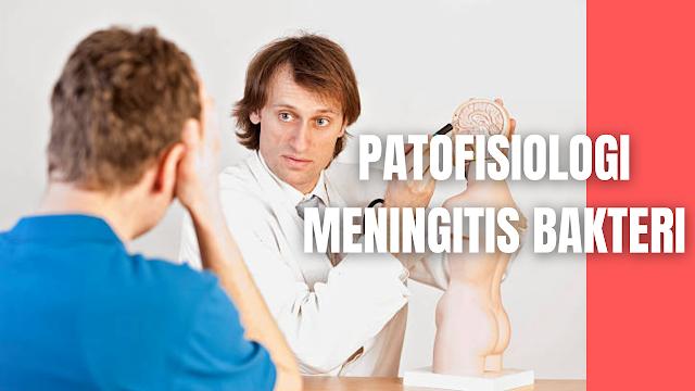 Patofisiologi Meningitis Bakteri Pada Manusia Infeksi bakteri dapat mencapai selaput otak melalui aliran darah (hematogen) atau perluasan langsung dari infeksi yang disebabkan oleh infeksi dari sinus paranasalis, mastoid, abses otak dan sinus kavernosus. Bakteri penyebab meningitis pada umumnya berkolonisasi di saluran pernapasan bagian atas dengan melekatkan diri pada epitel mukosa nasofaring host. Selanjutnya setelah terhindar dari sistem komplemen host dan berhasil menginvasi ke dalam ruang intravaskular, bakteri kemudian melewati SDO dan masuk ke dalam CSS lalu memperbanyak diri karena mekanisme pertahanan CSS yang rendah. Dalam upaya untuk mempertahankan diri terhadap invasi bakteri maka kaskade inflamasi akan teraktivasi sebagai mekanisme pertahanan tubuh.  Bakteri penyebab meningitis memiliki sifat yang dapat meningkatkan virulensi kuman itu sendiri. Bakteri H. influenzae, N. meningitidis dan S. pneumonia menghasilkan imunoglobulin A protease. Bakteri-bakteri ini menginaktifkan immunoglobulin A host dengan menghancurkan antibodi sehingga memungkinkan terjadinya perlekatan bakteri pada mukosa nasofaring dan terjadinya kolonisasi. Perlekatan pada mukosa epitel nasofaring host oleh N. meningitidis terjadi melalui fimbria atau silia. Dikatakan kerusakan silia ini akibat adanya infeksi saluran pernapasan bagian atas dan juga kebiasaan merokok dapat mengurangi kemampuan fimbria atau silia dalam mencegah perlekatan bakteri pada mukosa nasofaring. Bakteri kemudian akan memasuki ruang intravaskular melalui berbagai mekanisme. Bakteri meningokokus memasuki ruang intravaskular melalui proses endositosis melintasi endotelium di jaringan ikatvakuola. Sedangkan bakteri H. influenzae memisahkan tight junction apikal antara sel epitel untuk menginvasi mukosa dan mendapatkan akses ke ruang intravaskular.  Bakteri berkapsul (S. pneumonia, H. influenzae dan N. meningitidis) mencegah kerusakan oleh host setelah berada dalam aliran darah,karena kapsul polisakarida bakteri mengham