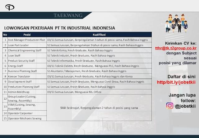 Info Lowongan Kerja PT. TK Industrial Indonesia